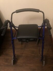 Rollator Walking Aid 4 Wheels In Blue With Seat Like New