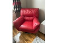 DFS x2 red swivel leather arm chairs £235 ONO