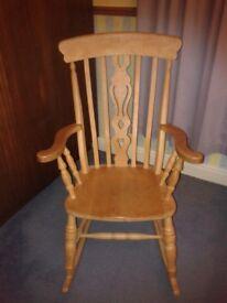 Rocking chair, solid pine/beech fiddleback Windsor