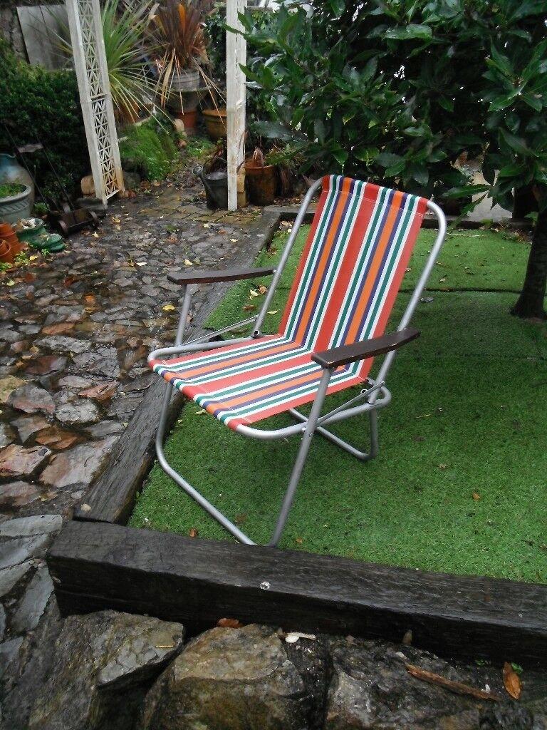 Vintage folding metal garden chair vw camper seat chair