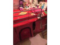 Children's Bed with storage and bunting