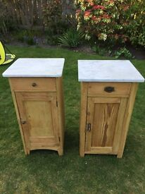 Antique bedside tables with marble tops