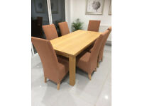 Oak effect dining table and 6 chairs