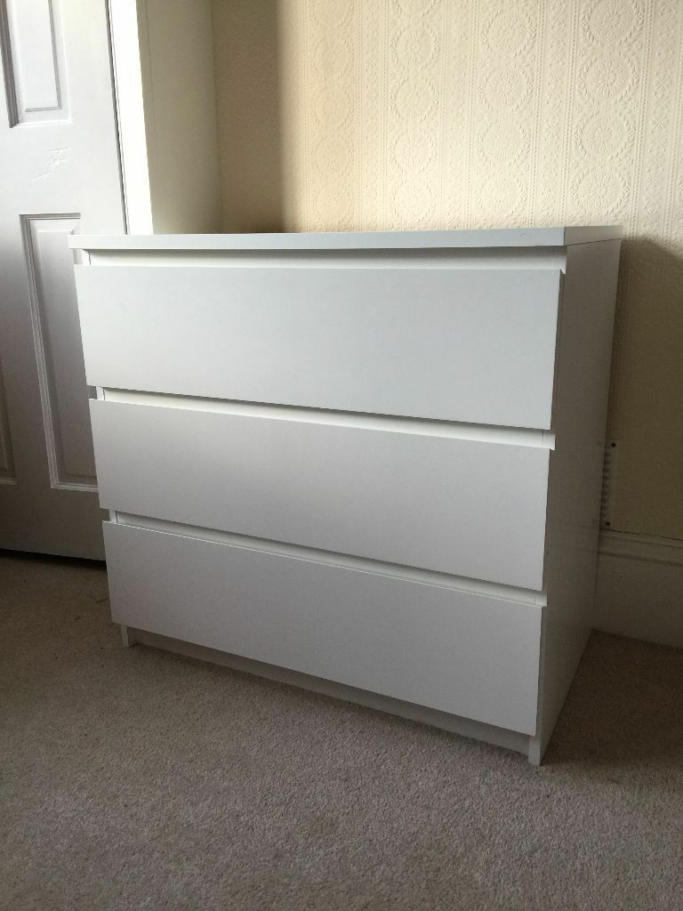 Ikea Malm Chest Of Drawers 3 Drawers White 163 30 In