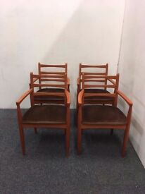 Four Retro Mid Century Schreiber Carver Dining Chairs