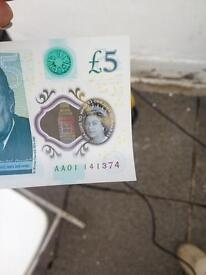 New £5 pound note serial number AA01
