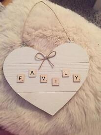 Handmade wooden heart family plaque