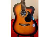 Electro Acoustic TIGER Guitar w/ Case & Capo