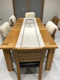 Marks and Spencer Sonoma extending dining table with six dining chairs