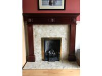 Fireplace Solid wood - Marble insert - Really Good condition