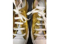 Liquid Gold Converse with Snake Print. UK 4