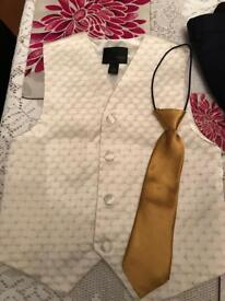 Boys waistcoat from next aged 6 gold tie and navy age 5 trousers