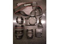 Canon 24-105mm f 4L IS USM + canon 450d(with kit lens)+ canon 50mm EF 1.8 (also separately)