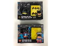Brand new unopened superhero egg cup sets Batman and Superman