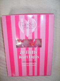 Think Pink 20 Fluffy Heart Light Set Complete with Fitted Plug (mains)