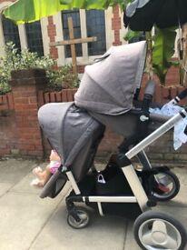 Mothercare Genie Tandem Double Pram Pushchair, Travel, Grey, From Birth Onwards
