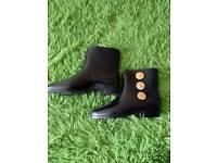 Vivienne Westwood Anglomania Melissa Wellie Black Ankle Boots Size UK 4, EU 37