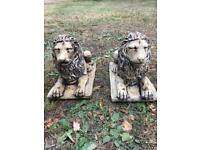 Pair Lion Garden Ornament.