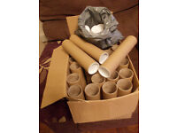 postal tubes and end caps x 33 cardboard 24cms long BS13