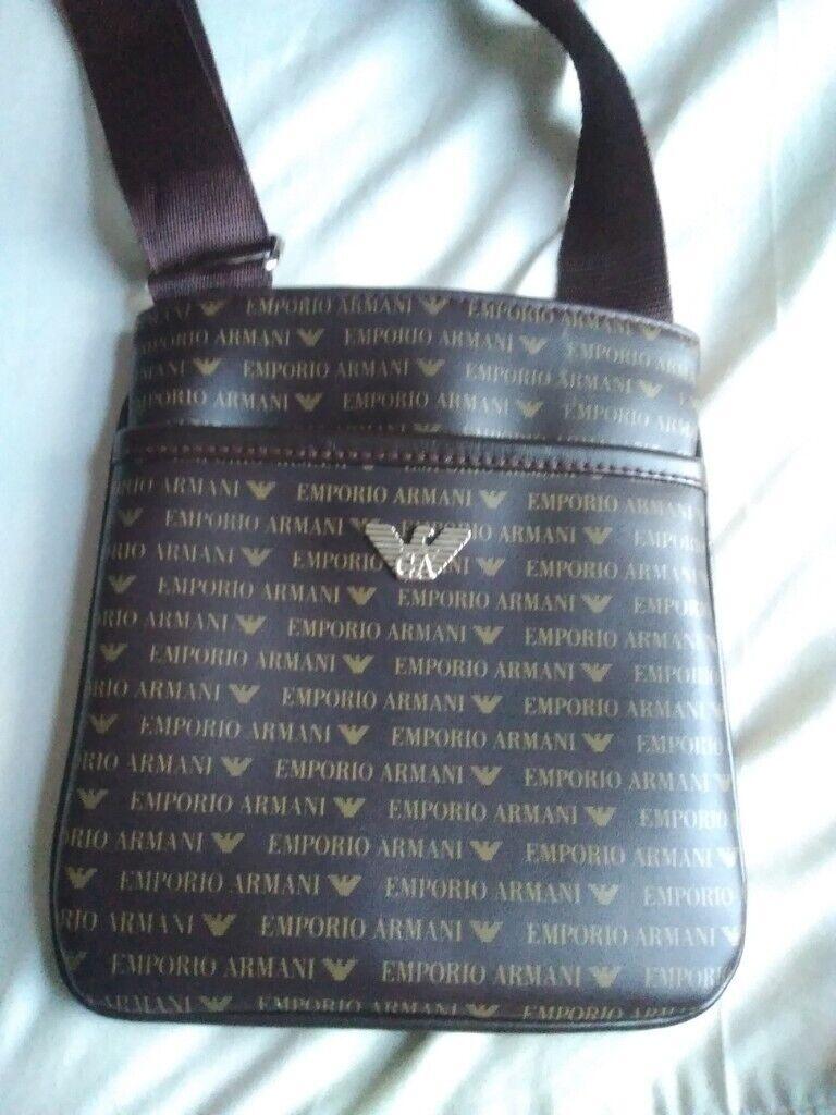 5fe32b0321c7 Unisex Emporio Armani eagle shoulder side messenger bag pouch brown