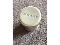 Small beige le creuset utensil pot