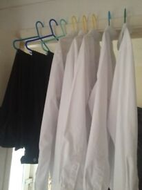 School uniform 5 white long sleeved shirts and 3 pairs of Broadland high trousers