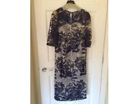 Beautiful Navy and Ivory John Charles Lace Dress with Organza Coat