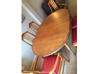 1970s teak G Plan extendable dining table with six newly covered chairs