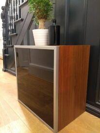 2x Dwell Square storage cupboards - walnut veneer with smoked glass door