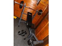 Quality foldable bench BODYMAX 94 kg weights, solid barbell, dumbbells
