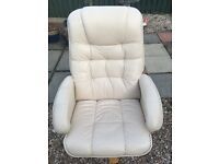 Cream leather swivel chair for sale