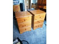 Bedside Tables in Pine, three drawers.