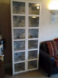 white tall bookcase with glass doors