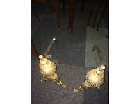 Adorable Antique Brass and Cast Iron Andirons, Hearth Fireplace Decor, Log Holders, Fire Dogs