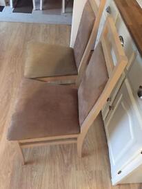 Two wooden velvet chairs,