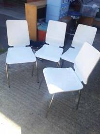 Dining Chairs - Set of 4 wooden retro white