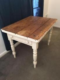 Genuine plank top farmhouse dining kitchen table