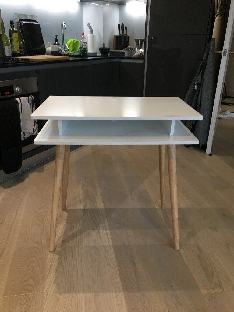 Habitat Cato White Desk With Solid Wood Legs