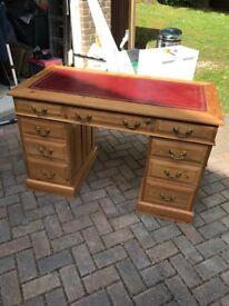 Hand made double pedestal pine desk