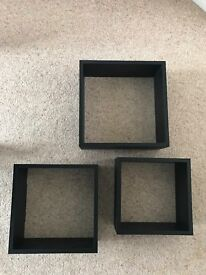 HOMEBASE SET OF THREE BLACK CUBE SHELVES NEW