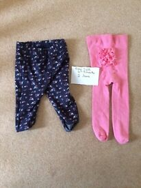5 pairs of Girls tights, 2 pairs size 3-6 months, 3 pairs 6-9 months in excellent condition
