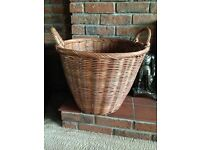 LARGE WICKER RATTAN LOG WOOD TOY STORAGE BASKET