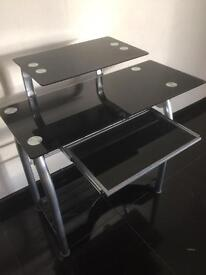 Glass desk and matching coffee table