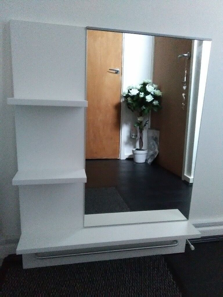 IKEA white bathroom/vanity mirror with 3 shelves and a useful bar at ...