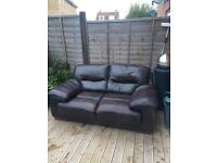 2 seater brown leather sofa - good condition 5 years old