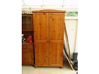 large pine wardrobe with shelf and hanging rail