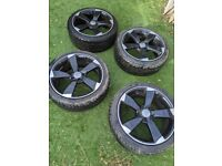 AUDI 17 INCH ROTOR WHEELS BLACK LIKE NEW TYRES