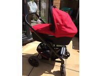 Joie Chrome Red Pushchair with Carrycot and carseat