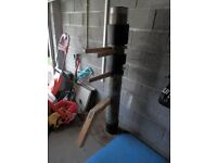Traditional Wing Chun Wooden Dummy with pads and custom made freestanding base