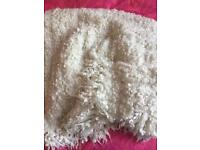 Ikea OFELIA white fluffy blanket throw